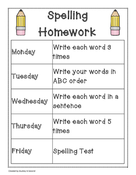 Spelling Packet/Templates for 20 Words (Homework/Center)