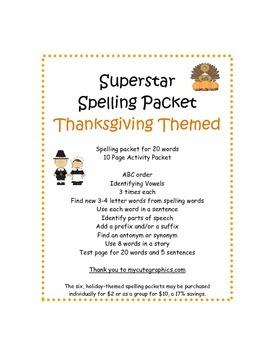 Spelling Packet Thanksgiving Superstars