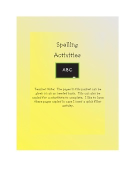 Spelling Packet - Ultimate Resource