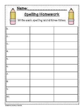 Spelling Packet/Templates for 10 Words (Homework/Center)