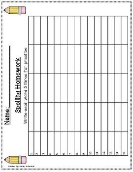Spelling Packet/Templates for 15 Words (Homework/Center)