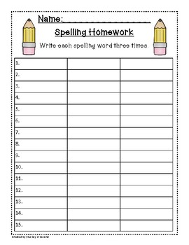 Spelling Packet/Templates for 15 Words (Homework/Center)