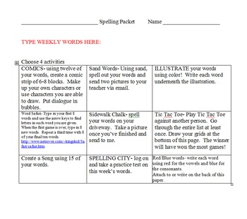 Spelling Packets- fill in your own weekly words- 33 weeks worth