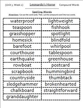 Spelling Packs, Unit 1-6, 5th Grade Reading Street