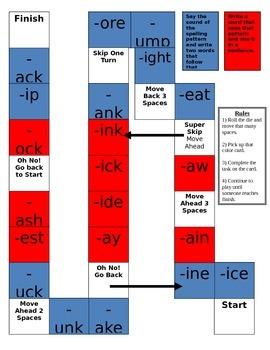 Spelling Pattern Board Game