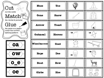 Spelling Pattern Sorts (Long vowels, Digraphs and Diphthongs)