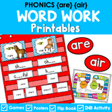 Phonics Literacy Center & Flip Books (word families - 'are' and 'air')