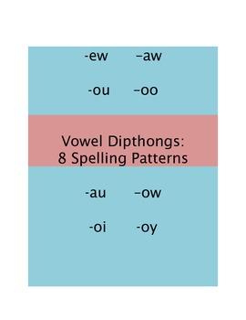 Spelling Patterns: 8 Vowel Dipthongs Word Lists and Activities