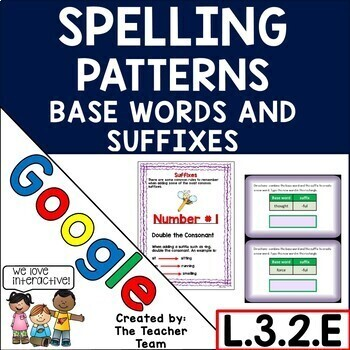 Spelling Patterns Base Words and Suffixes for Google Drive L.3.2.E