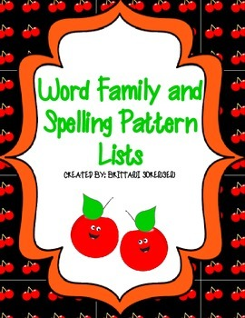 Spelling Patterns Lists: Word Families, Blends, Digraphs, Vowels, etc.