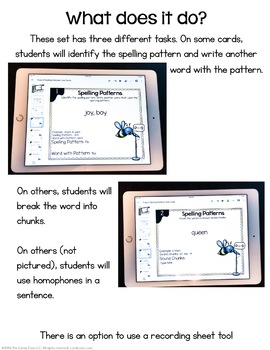 Spelling Patterns Digital Task Cards - Paperless Option