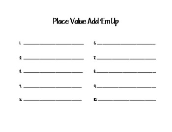 Spelling/ Place Value Practice Sheet