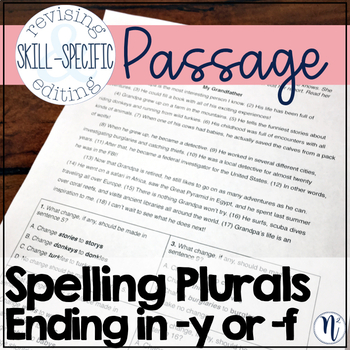"""Spelling Plurals Ending in """"y"""" or """"f"""": Skill-Specific Revising and Editing"""