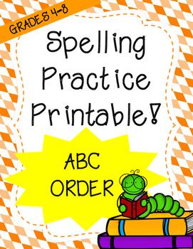 Word Work: ABC/Alphabetical Order (Spelling Worksheet)