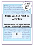 Spelling Practice Activities To Use With ANY Word List