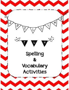 Spelling Practice Activities with bonus Vocabulary Activities