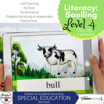 Spelling Practice - Animal Names - Digital Task Cards level 4