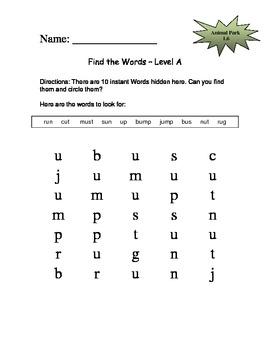 Animal Park - Scott Foresman Spelling Practice Grade 1