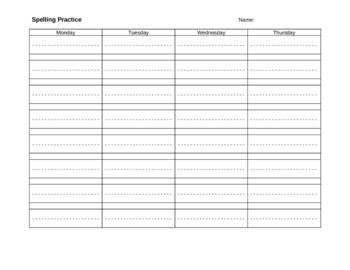 Spelling Practice Blank Worksheet with dotted... by Kari Edmonds ...
