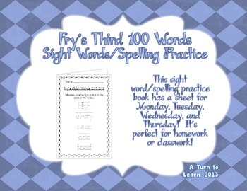 Spelling Practice Book - Fry's Third 100 Sight Words (201-300)