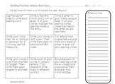 Spelling Practice Choice Boards