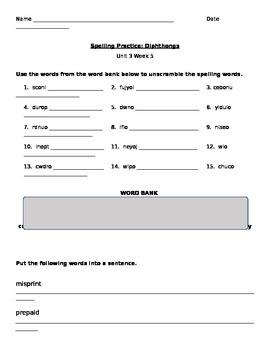 Spelling Practice: Diphthongs- Unit 3 Week 5 Reading Wonders