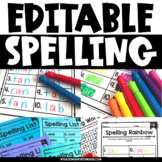 Editable Spelling List (EDITABLE Spelling Activities for A