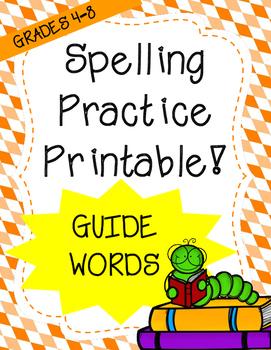 Word Work: Guide Words (Spelling Worksheet)