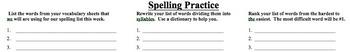 Spelling Practice Handout