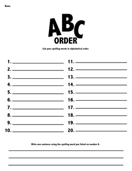Spelling Practice Homework