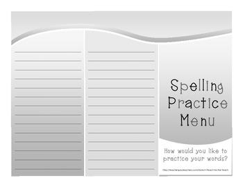 Spelling Practice Menu Tri-fold with 22 Fun Spelling Ideas