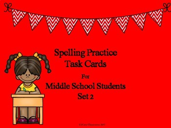 Spelling Practice Task Cards for Middle School Students Set 2