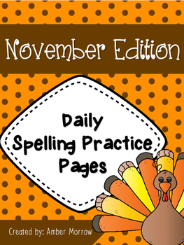 Spelling Practice Pages: November Edition