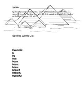 Spelling Practice Pyramid