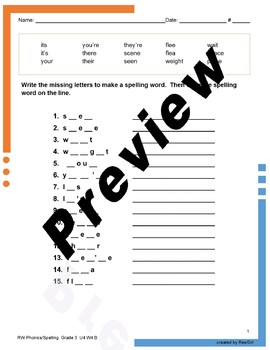 Reading Wonders Reading Wonders Spelling Unit 4, Week 4, Beyond
