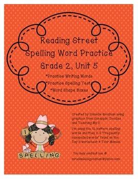 Spelling Practice Sheets Reading Street 2013 Grade 2, Unit 5