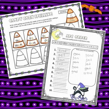 Spelling Activities and Practice for Halloween, to fit any list
