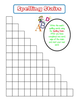 Spelling Practice Spelling Stairs By First Grade Fancy Tpt