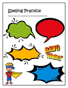 Spelling Practice, Super Hero