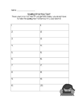 Spelling Practice Test and Test Sheets