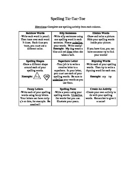 Spelling Practice Tic Tac Toe