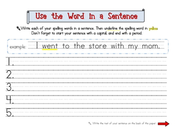 Spelling Practice - Use the Word in a Sentence