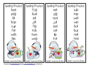 Spelling Practice - Winter Snowman Edition Grade K