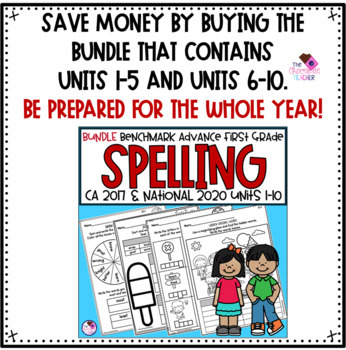 Spelling Word Work for use with Benchmark Advance Units 6-10 First Grade