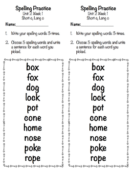 Spelling Practice and Tests With a New Look (Reading Wonders Aligned Unit 2)