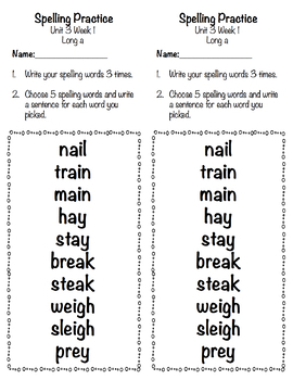 Applied Spelling Tests and Practice (Unit 3)