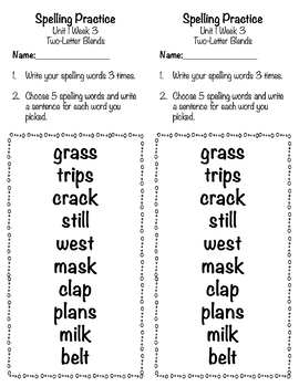 Spelling Practice and Tests With a New Look (Reading Wonders Aligned Unit 1)
