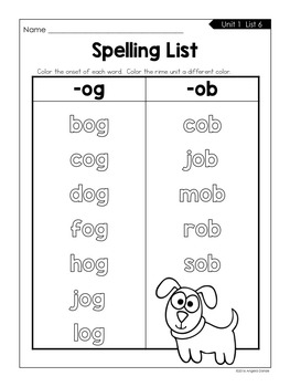 Color the Pattern Spelling Lists