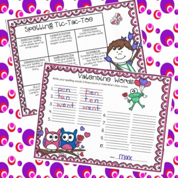 Spelling Activities and Practice for Valentine's Day, to fit any list