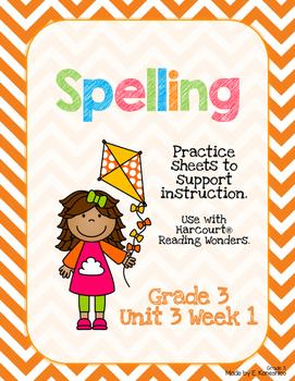 Spelling Practice for Reading Wonders - Grade 3 Unit 3 Week 1
